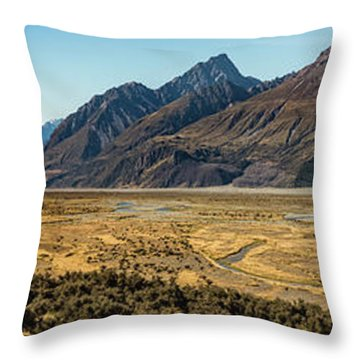 Throw Pillow featuring the photograph Mt Cook And Tasman River  by Gary Eason