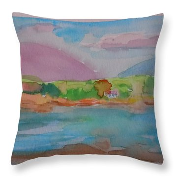 Throw Pillow featuring the painting Mt Desert From Marlboro Beach by Francine Frank