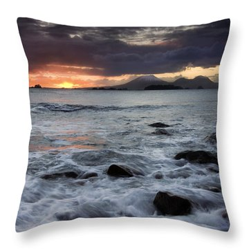 Mt. Edgecumbe Sunset Throw Pillow by Mike  Dawson