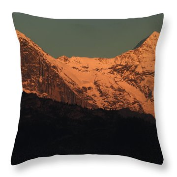 Mt. Eiger And Mt. Moench At Sunset Throw Pillow