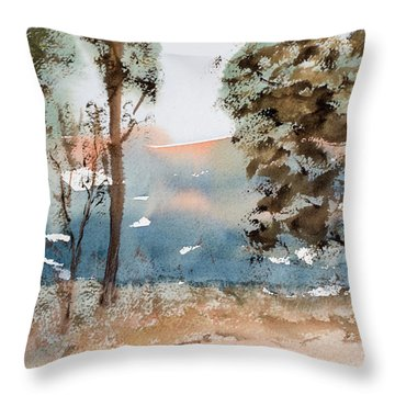 Mt Field Gum Tree Silhouettes Against Salmon Coloured Mountains Throw Pillow