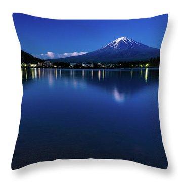 Mt Fuji - Blue Hour Throw Pillow