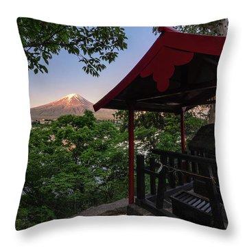 Mt Fuji From Ubuyagasaki Shrine Throw Pillow