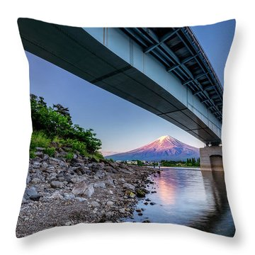 Mt Fuji - Under The Bridge Throw Pillow