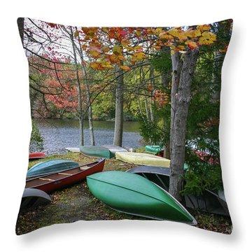 Mt. Gretna Canoes Throw Pillow