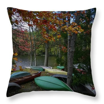 Mt. Gretna Canoes In Fall Throw Pillow