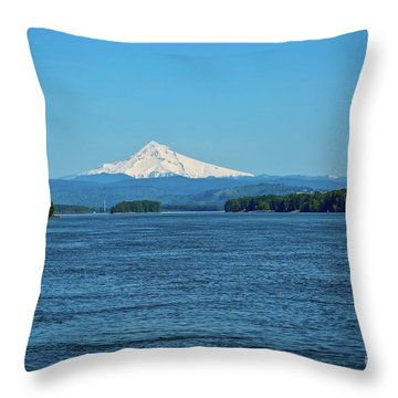 Mt. Hood Above The Columbia River Throw Pillow