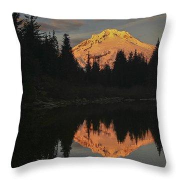 Mt Hood Alpenglow II Throw Pillow