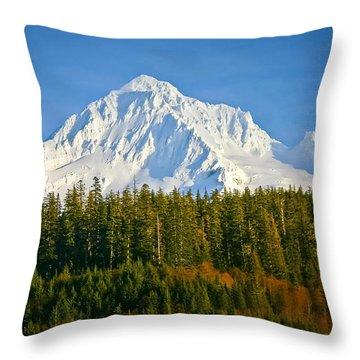 Mt Hood In Winter Throw Pillow