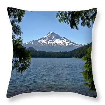 Mt Hood Over Lost Lake Throw Pillow