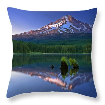 Mt. Hood Reflection At Sunset Throw Pillow by William Lee