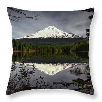 Mt Hood Reflection Throw Pillow