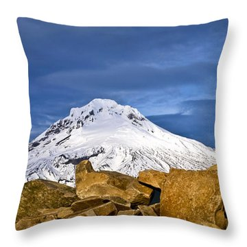Mt Hood With Talus Throw Pillow