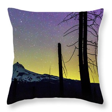 Throw Pillow featuring the photograph Mt. Jefferson Bathed In Auroral Light by Cat Connor