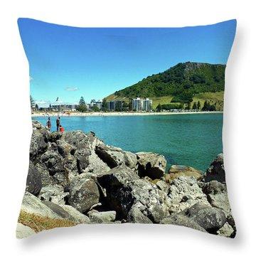 Mt Maunganui Beach 11 - Tauranga New Zealand Throw Pillow