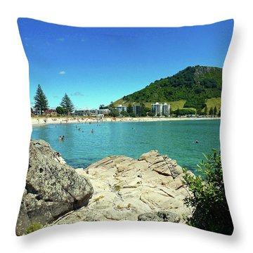 Mt Maunganui Beach 13 - Tauranga New Zealand Throw Pillow