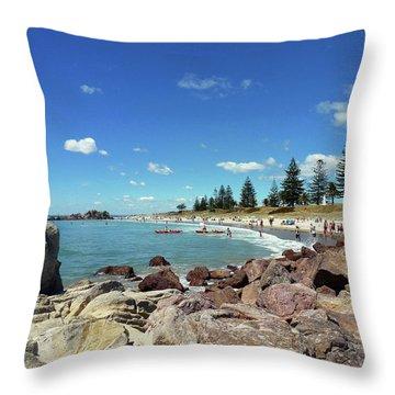 Mt Maunganui Beach 3 - Tauranga New Zealand Throw Pillow