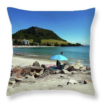 Mt Maunganui Beach 5 - Tauranga New Zealand Throw Pillow