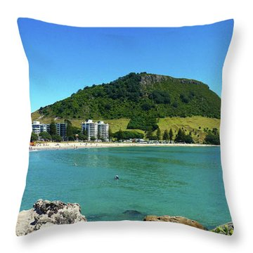 Mt Maunganui Beach 7 - Tauranga New Zealand Throw Pillow