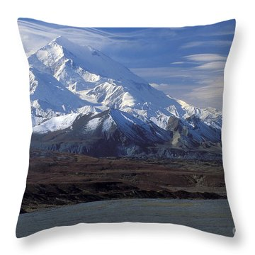 Mt. Mckinley And Lenticular Clouds Throw Pillow by Sandra Bronstein
