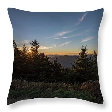 Mt Mitchell Sunset North Carolina 2016 Throw Pillow by Terry DeLuco