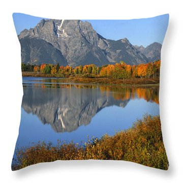 Mt. Moran Fall Reflection  Throw Pillow by Sandra Bronstein