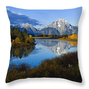 Mt. Moran On The Snake River Throw Pillow