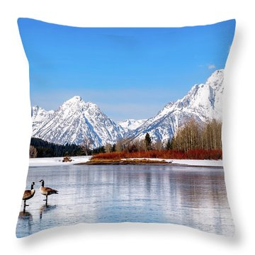 Mt Moran With Geese Throw Pillow