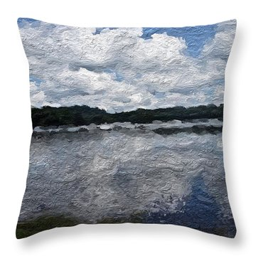 Throw Pillow featuring the painting Mt. Pocono Landscape by Joan Reese