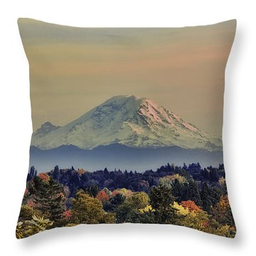 Mt Rainer Fall Color Rising Throw Pillow
