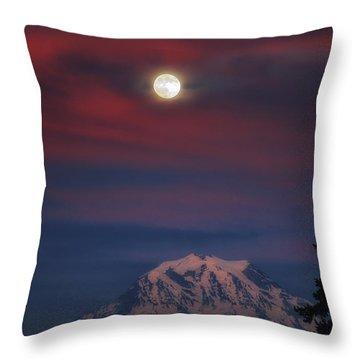 Mt Rainer Super Moon Throw Pillow