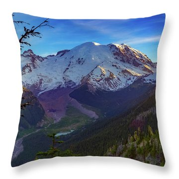 Mt Rainier At Emmons Glacier Throw Pillow by Ken Stanback