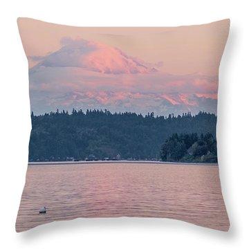 Mt. Rainier At Sunset Throw Pillow by E Faithe Lester