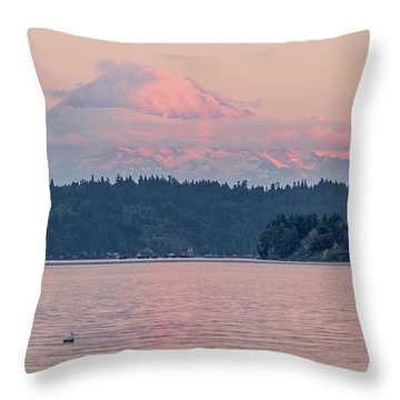 Mt. Rainier At Sunset Throw Pillow