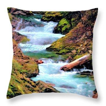 Mt Rainier Cascades, Fine Art Print Throw Pillow