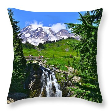 Mt. Rainier From Myrtle Falls Throw Pillow