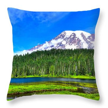 Mt. Rainier From Reflection Lakes Throw Pillow