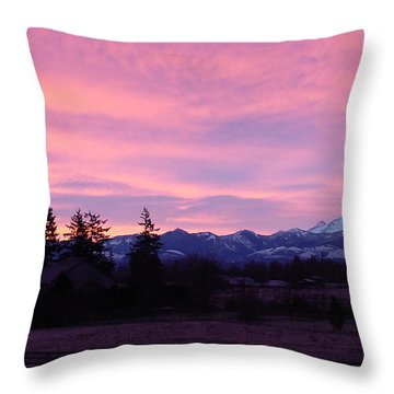 Mt Rainier Frosty Sunrise Throw Pillow by Shirley Heyn