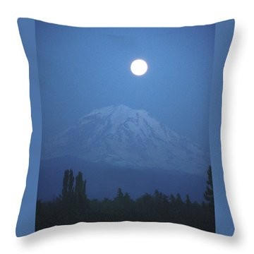 Mt Rainier Full Moon Throw Pillow