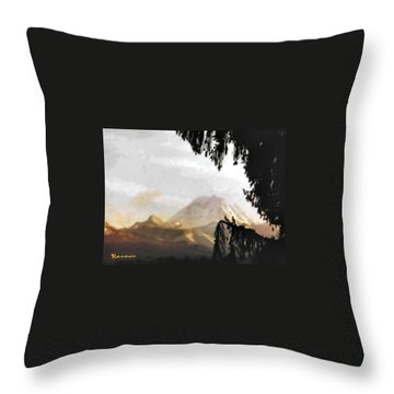 Mt. Rainier In Lace Throw Pillow by Sadie Reneau