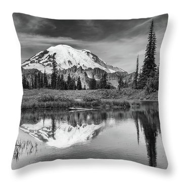 Mt Rainier In Reflection Throw Pillow
