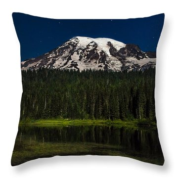 Throw Pillow featuring the photograph Mt Rainier In Reflections Lake At Night by Rob Green