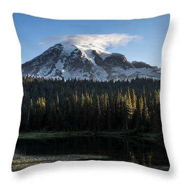 Mt Rainier In Reflections Lake At Sunrise Throw Pillow