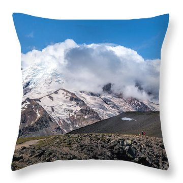 Mt Rainier In The Clouds Throw Pillow