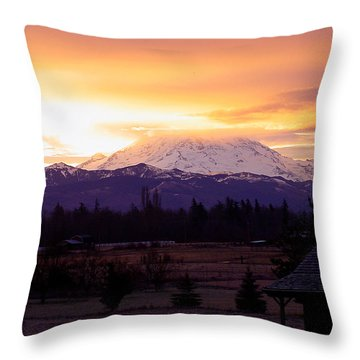 Mt. Rainier On Fire Throw Pillow