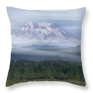 Throw Pillow featuring the photograph Mt. Rainier by Patti Deters