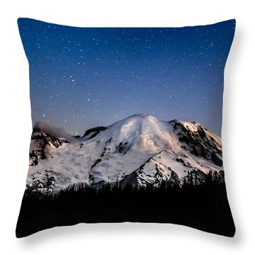 Throw Pillow featuring the photograph Mt. Rainier Star Light by Rob Green