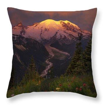 Mt. Rainier Sunrise Throw Pillow