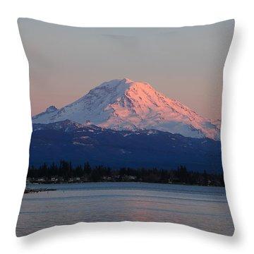 Mt Rainier Sunset Throw Pillow