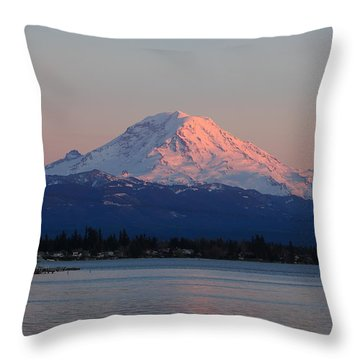 Throw Pillow featuring the photograph Mt Rainier Sunset by Peter Simmons